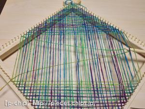 マーガレット織り機でバイアス織り