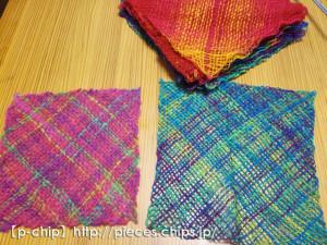 マーガレット織り機で織ったバイアス織り