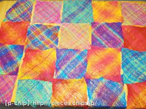バイアス織りのパーツを並べる