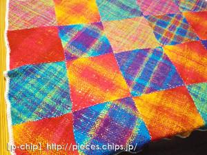 バイアス織りのパーツを縫い合わせる