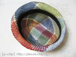 帽子の内側にサイズテープを縫いつける